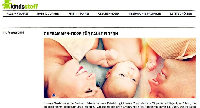 Tips für faule Eltern - Gastbeitrag auf Kindsstoff.de