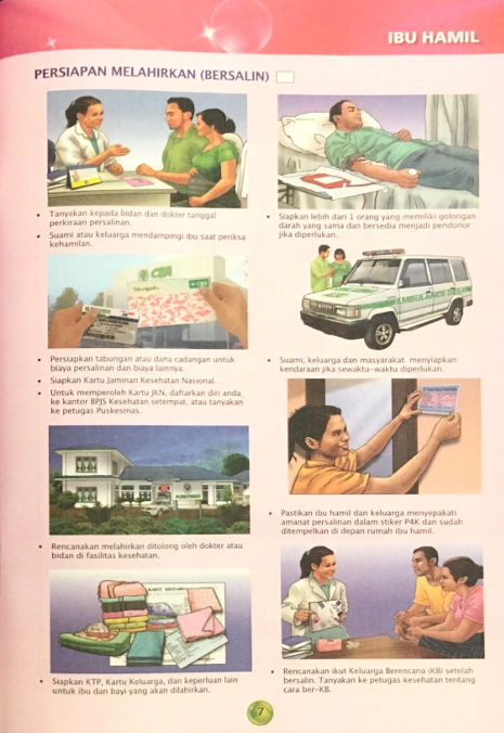 Aufklärungs-Illustrationen zur Bluttransfusion in indonesischem Mutterpass